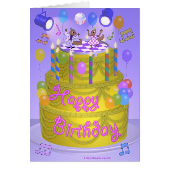 """Happy Birthday"" cake (English) Card"