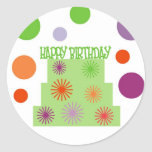HAPPY BIRTHDAY CAKE INVITATION SEAL ROUND STICKER