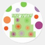 HAPPY BIRTHDAY CAKE INVITATION SEAL ROUND STICKERS