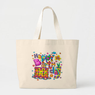 Happy Birthday Cake Large Tote Bag