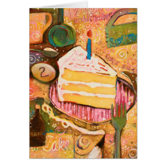 Happy Birthday Cake Painted Recipe Card (Vertical)