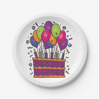 Happy Birthday Cake Party Plates #1 7 Inch Paper Plate