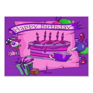 "Happy Birthday Cake Silly Clown 5"" X 7"" Invitation Card"