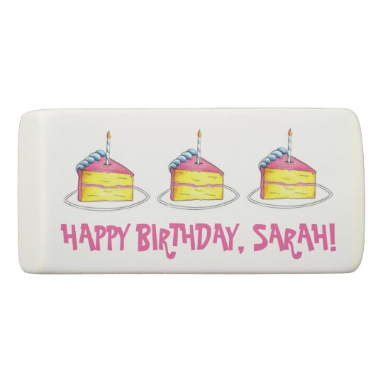 Happy Birthday Cake Slice Personalized Party Eraser