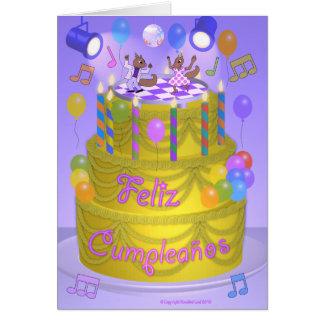 """Happy Birthday"" cake (Spanish) Greeting Card"
