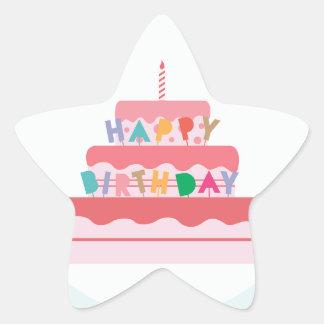 Happy Birthday Cake Star Sticker