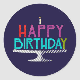 Happy Birthday Cake Typography Sticker (Round)