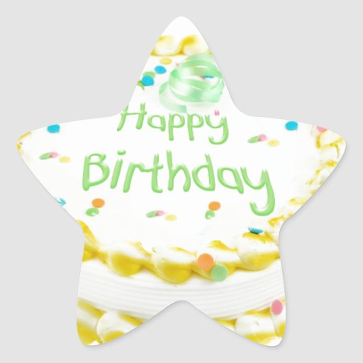 Happy birthday cake with green and yellow sticker