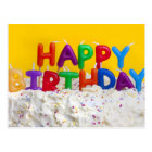 happy birthday cake with message postcard