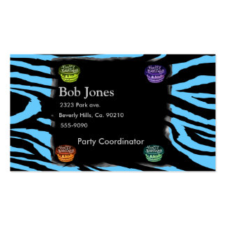 Happy Birthday Cake Zebra Set Business Cards