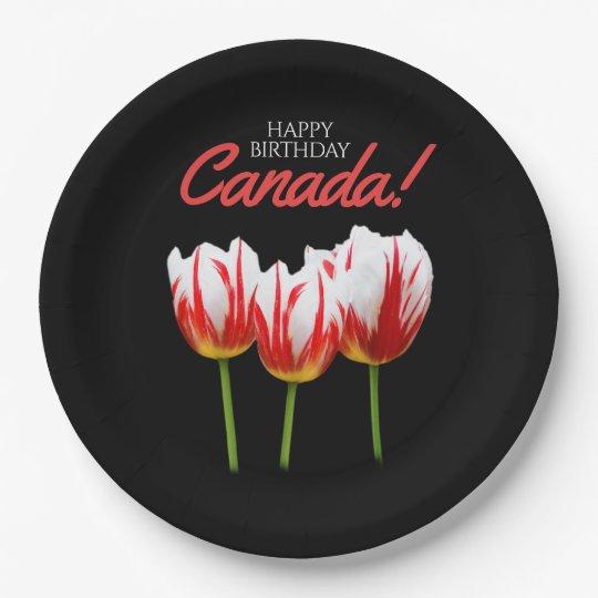 Happy Birthday Canada Elegant Maple Leaf Tulips Paper Plate
