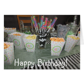 Happy Birthday Candy Buffet Green and Black Card