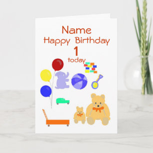 Happy Birthday Card 1 Year Old Toys Customize