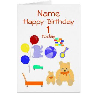 Happy Birthday Card 1 year old, Toys, Customize