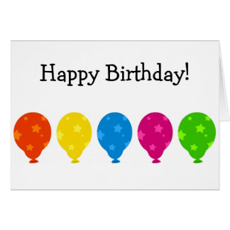 Happy Birthday Card: Balloons with Stars Card