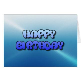 Happy Birthday Card Blue Bubble Text