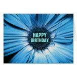 Happy Birthday Card Blue Daisy
