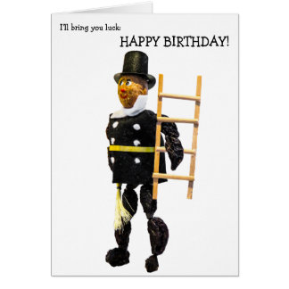 Happy Birthday Card: Chimney Sweeper for Luck Card