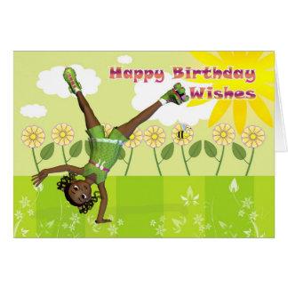 Happy birthday card cute little girl