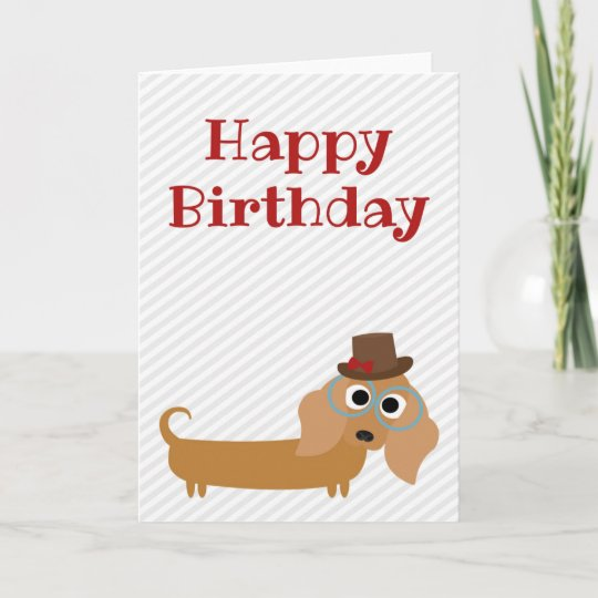Happy Birthday Card Dachshund Dog Blank Inside