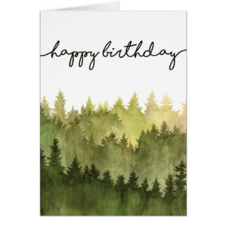 Happy Birthday Card for Him, Watercolor Pine Trees