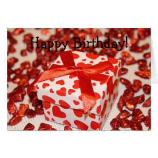 Happy Birthday Card - Gift, Heats and Candies