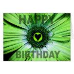 Happy Birthday Card Green Daisy