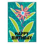Happy Birthday Card Green Purple Flower
