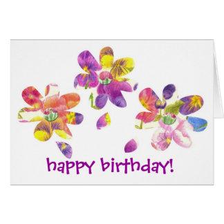 Happy Birthday Card Kids Bright Pansy Flower