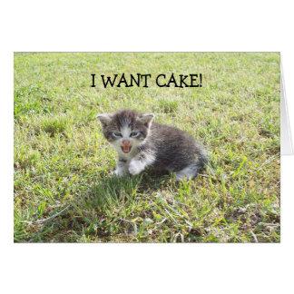 Happy Birthday Card: Kitten wants Cake Card