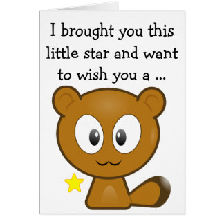 Happy Birthday Card: Little brown Kitten and Star Card