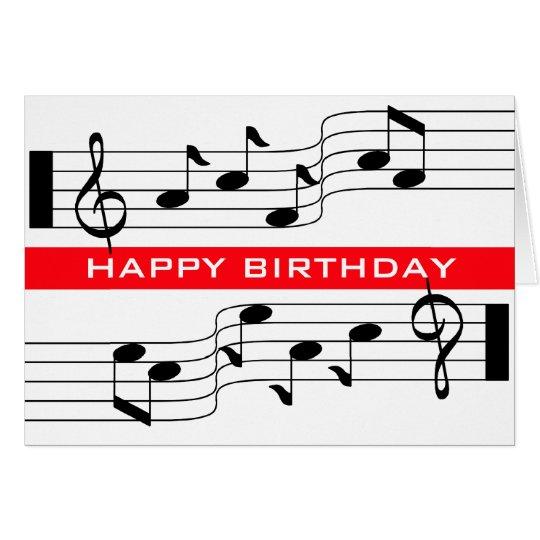 Happy Birthday Card Music Note Score White