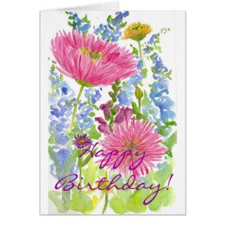 Happy Birthday Card Pink Dahlia Bouquet Watercolor