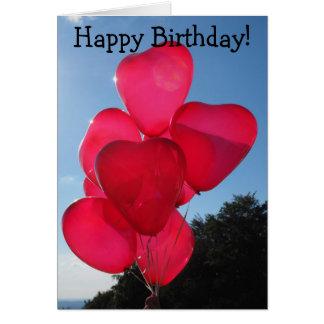 Happy Birthday Card: Seven Heart-Balloons Card