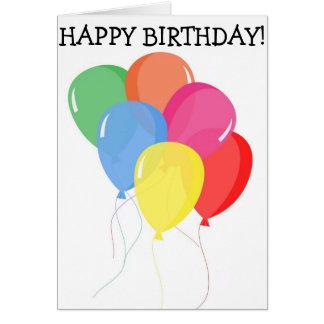 Happy Birthday Card: Six Balloons Card