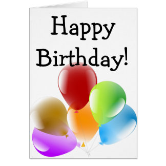 Happy Birthday Card: Six colorful Balloons Card