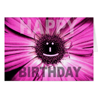 Happy Birthday Card Smile Pink Daisy