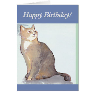 Happy birthday card with a cat
