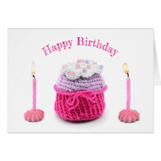 Happy Birthday card with crochet muffin and candle