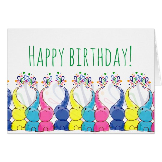 """Happy birthday"" card with cute baby elephants"