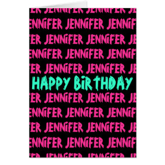 Happy Birthday card with neon colored text