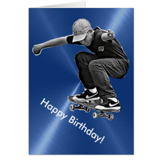 Happy Birthday Card with Skateboard Graphics
