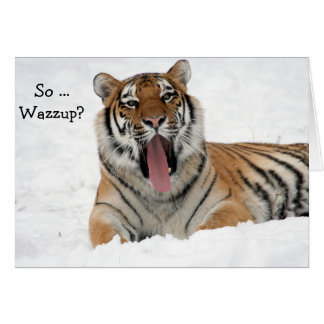 Happy Birthday Card: Yawning Tiger in the Snow Card