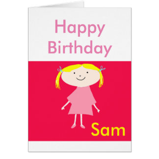 Happy Birthday cartoon little girl in pink (name) Greeting Card