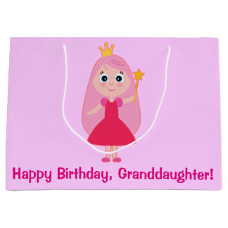 Happy Birthday Cartoon Princess Granddaughter Large Gift Bag
