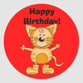 Happy Birthday! (cat costume) Round Sticker