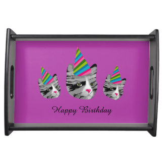 Happy Birthday Cat in Party Hat Serving Tray
