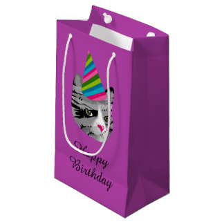 Happy Birthday Cat in Party Hat Small Gift Bag