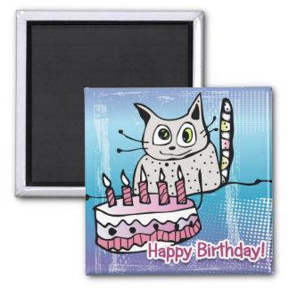 Happy Birthday Cat - magnet