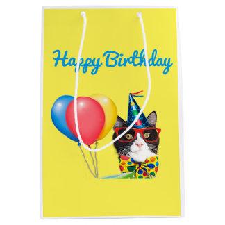 Happy Birthday Cat Medium Gift Bag